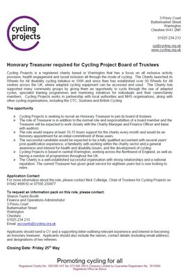 Honorary Treasurer Advert Cycling Projects.JPG